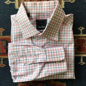 David Donahue Trim Fit Pink Blue Plaid Shirt